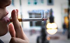 Profile person smoking